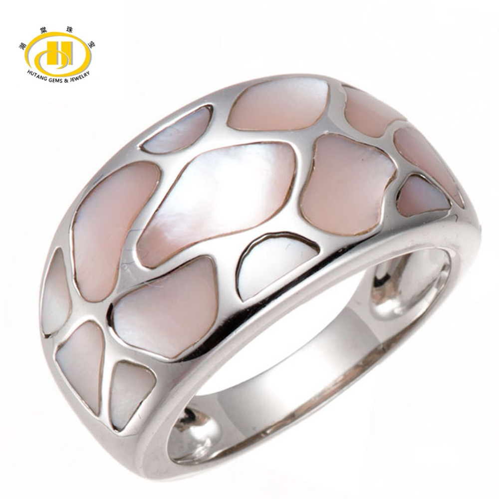 Womens Pink Mother of Pearl Shell Solid 925 Sterling Silver Puzzle Ring, Mutiple Size<br><br>Aliexpress