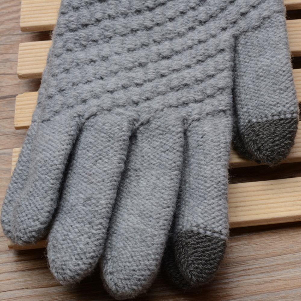 Smartphone Touchscreen Gloves Women Girl Female Stretch Knitted Gloves Mittens Winter Thick Warm Accessories Woolen Guantes
