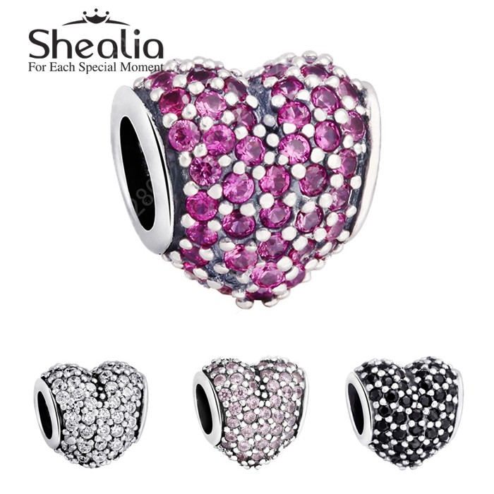 Authentic 925 Sterling Silver Clear Cubic Zirconia Pave Heart Charm/DIY Craft Beads Jewelry Accessories/Fits European Bracelets