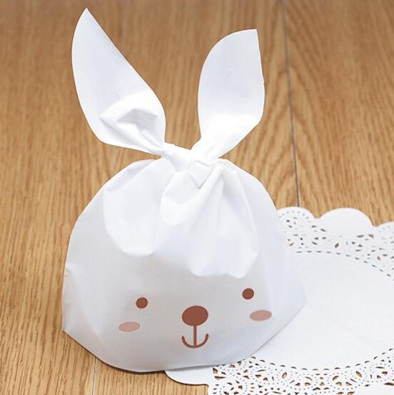 50 Pieces/Set Lovely Cute White Long Ears Rabbits bunny Gift Bag Candy Boxes Environmental Cookie Dessert Bag 22cm x 13.7cm(China (Mainland))