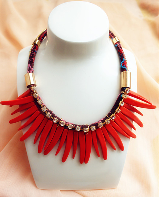 2015 Vintage Red Coral Rope Chain Crystal Choker Collar Charms Statement Bib Necklace - Lady Jewelry Company store