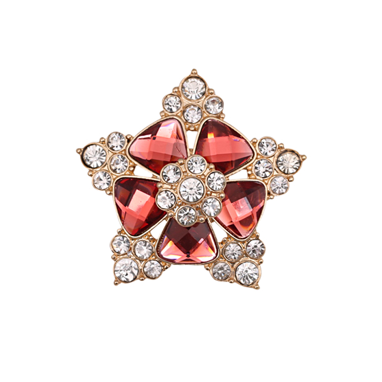 Korean Party Five Stars Brooches Crystal Cheap Woman Brooches Pins Wholesale Free Shipping Fine Jewelry Gift(China (Mainland))