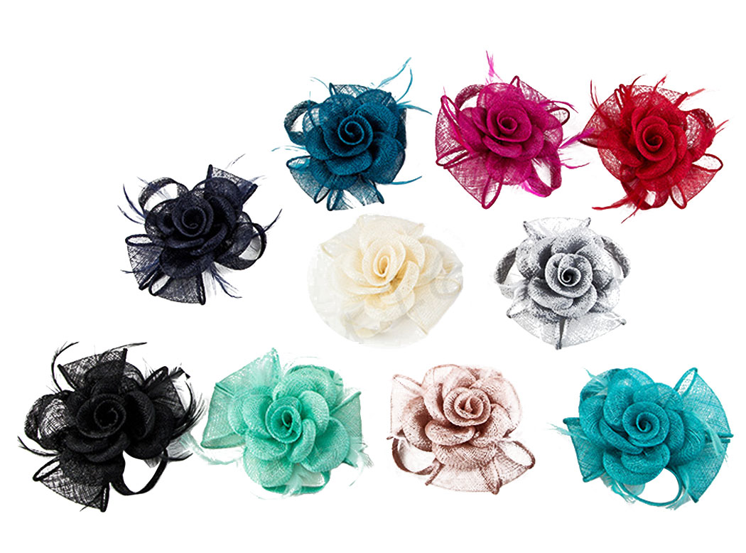 Women Cambric Fabric Flower Feather Hair Clip Headwear Floral Brooch Pin Corsages for Wedding(China (Mainland))