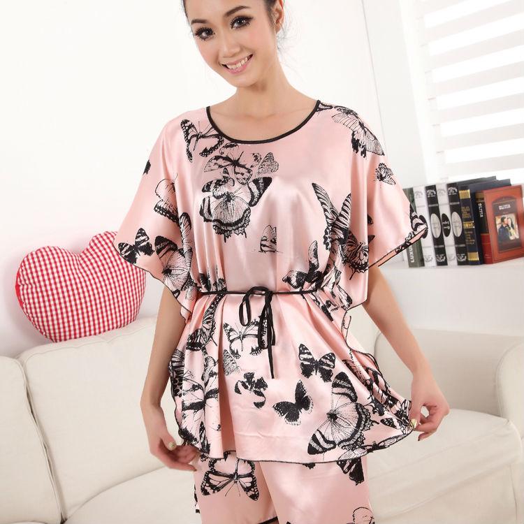 hot sales free shipping New Faux Silk Sleepwear Gown Dress Pajamas Robe twinset sleepwear women's pajamas Pajamas for Womens(China (Mainland))