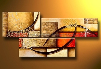 100% Hand painted free shipping High quality color red yellow Eye line High Abstract landscape Wall Decor Oil Painting 3pcs set