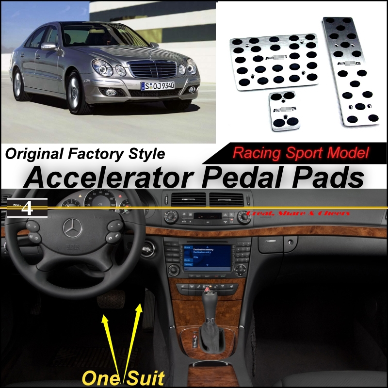 Car Accelerator Pedal Pad / Cover of Factory Model Design / Drill Type Install For Mercedes Benz E Class MB W211 2002~2009 AT(China (Mainland))