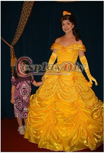 New Arrival Custom Made Yellow Princess Belle Dress Costume From Beauty and the BeastÎäåæäà è àêñåññóàðû<br><br>
