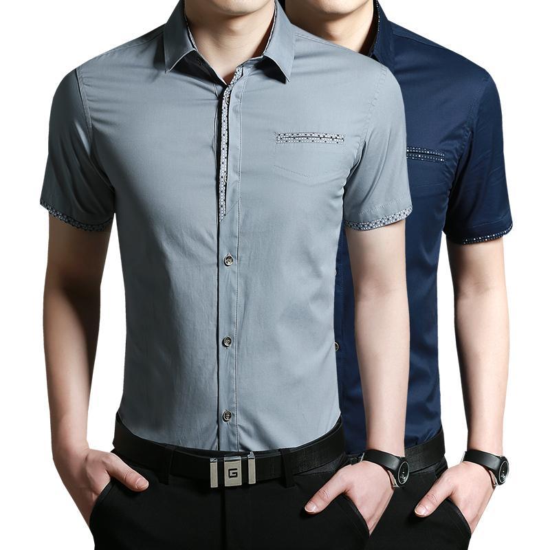 2015 Men's Dress Shirts Short Sleeve Fashion Slim Shirts, Design Patchwork Solid 4 Colors, Big Size 5XL Shirt - . Follow Me store