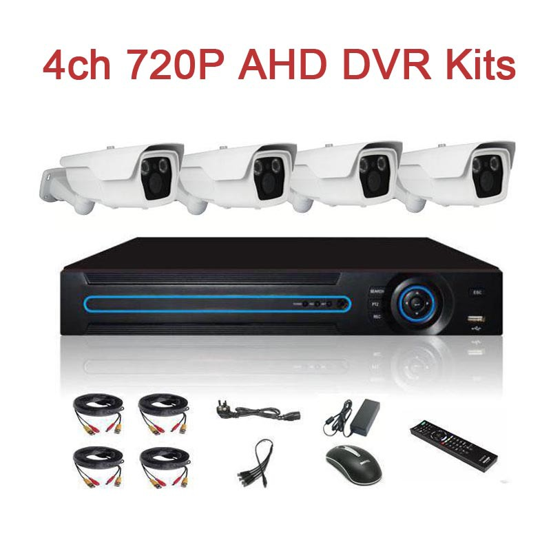 Longest IR Range Top Quality Luxury 4ch AHD CCTV Surveillance System DVR Kits with 1.0MP Bullet Array Camera 60M IR Range(China (Mainland))