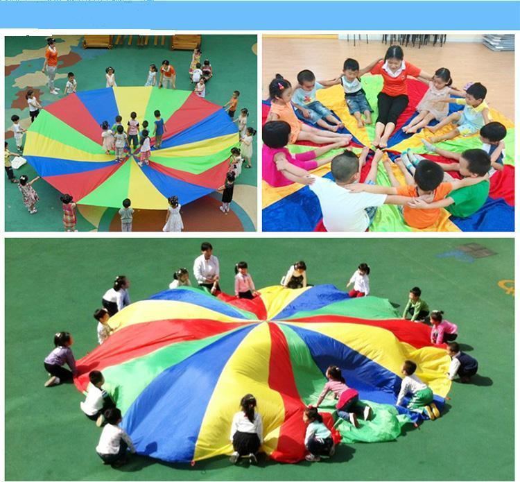 Hot Sales Multicolor Nylon New 6M Kids Play Rainbow Parachute Toy Jump-sack Ballute Play Parachute Outdoor Game Exerclse Sport(China (Mainland))