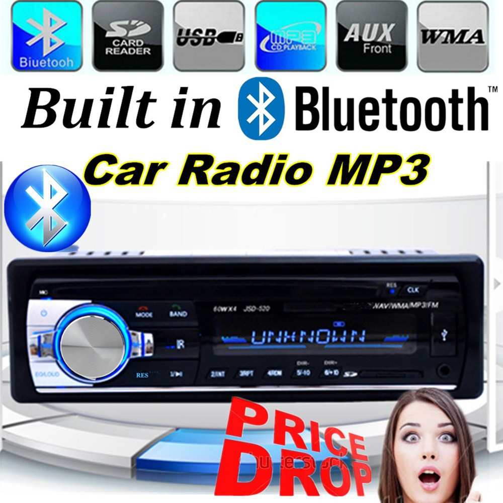 2015 New 1 DIN 12V Car Radio player MP3 Audio Stereo FM Built in Bluetooth Phone with USB/SD MMC Port Car Electronics In-Dash(China (Mainland))