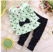Baby Girl Clothing Set Heart-shaped Print Bow Cute 2PCS Cloth Set Children Cloth Suit Top T shirt + Pants High quality(China (Mainland))