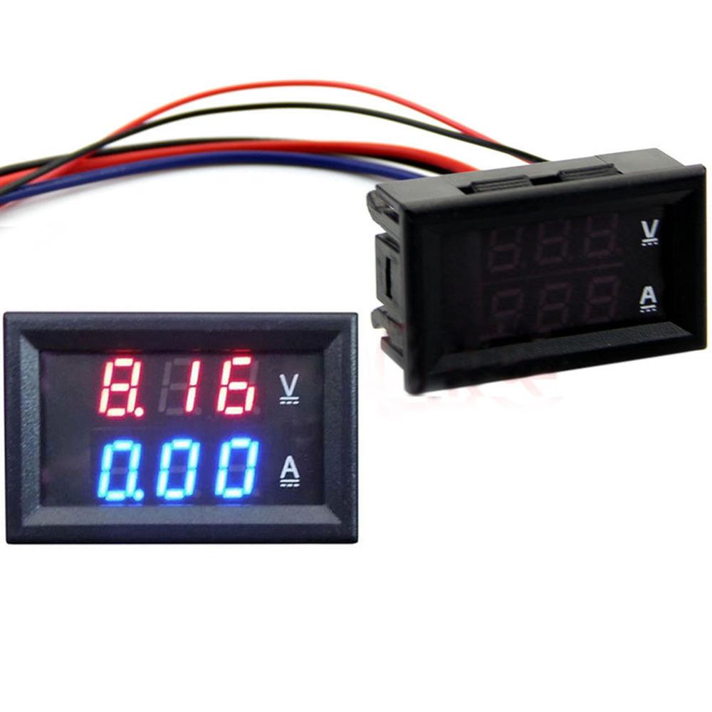 DC 100V 50A Voltmeter Ammeter Blue Red LED Amp Dual Digital Volt Meter Gauge