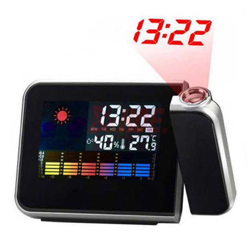 Attention Projection Digital Weather LCD Snooze Alarm Clock Projector Color Display LED Backlight()