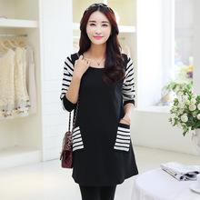 Fashion Shirts Women Pregnancy Tops Women Maternity Black White Cotton O-Neck Full Sleeve Tops Tees Cheap (China (Mainland))