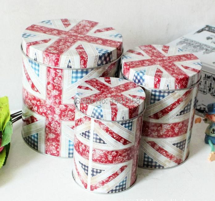 FREE SHIPPING 2014 Good quality ZAKKA British wind national flag style three-piece cylindrica tin boxes storage box hot selling(China (Mainland))