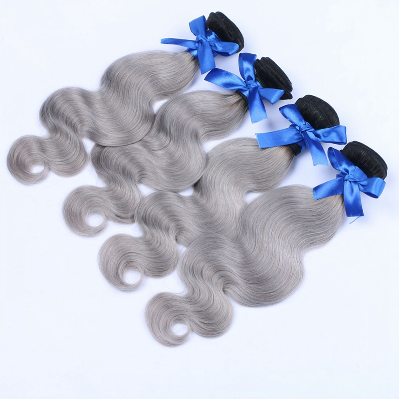 4 Bundles Ombre Brazilian Virgin Hair Body Wave Extension Silver Grey Human Hair Bundles Brazilian Human Hair Weave Bundles