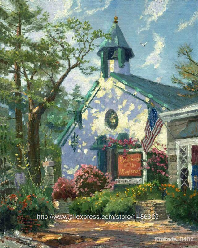 Chinese Landscape Thomas Kinkade Church Of The Wayfarer Home Decor Acrylic Paints Art Large Oil Canvas Oil Paintings Wall Pi(China (Mainland))