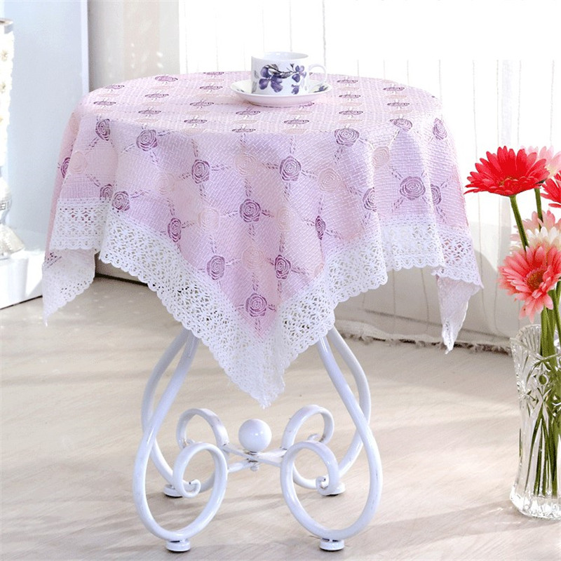 [WIT] 85*85cm Embroidery Table Cloth Lace Table Clothes The Universal Cover Cloth Dinning Table Cloth Topper Froal Table Clothes(China (Mainland))