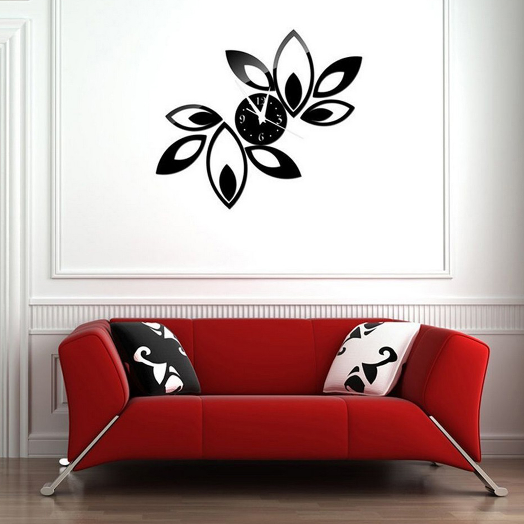 Removable DIY 3D Acrylic Clock Mirror Lotus Wall Sticker Mural Decals Black