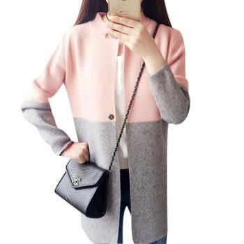 Зима 2015 длинный женщин свитер контрастного цвета одного боты тонкий сладкий кардиган женский вязаный свитер пальто бесплатная доставка
