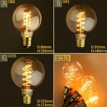 Buy 220V G80 G95 Spiral Retro Edison Bulbs E27 Incandescent Bulbs 40W Filament Bulb Vintage Edison Light Pendant Lamp for $4.59 in AliExpress store