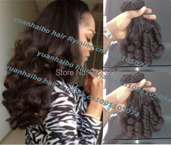 high quality 6a 3pcs/lot 1b# virgin brazilian aunty funmi human hair weft bouncy curls for black women free shipping<br><br>Aliexpress