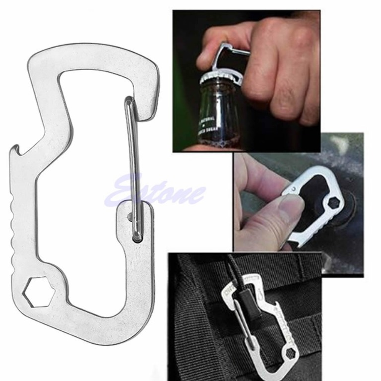 Survival Carabiner Key Chain Keyring Travel Bottle Opener Cap Lifter Multi Tools(China (Mainland))