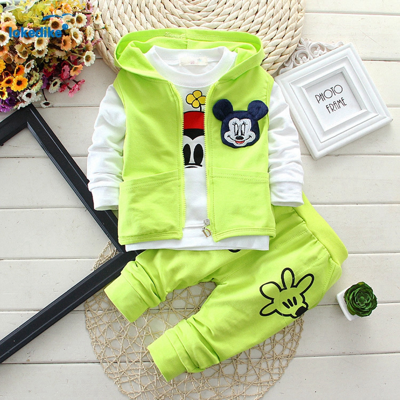 3 Pieces Kids Boys Girls Clothing Set 2016 Autumn New Toddler Children Boys Girls Clothes Cotton Hooded Vest+Pullover+Pants T658(China (Mainland))