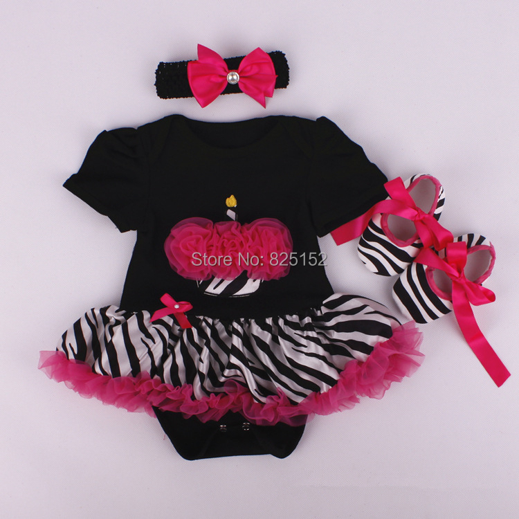 3pcs Newborn Infant Baby Girls Headband+Romper+Shoes Cupcake Sets Christmas Party costumes girl Outfits Clothes with hairband(China (Mainland))