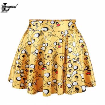 Summer Style Adventure Time Cartoon Printed Saia Sports Slim Kilts Harajuku Punk Women Kawaii Apparel Lovely Pleated Skirt X-152
