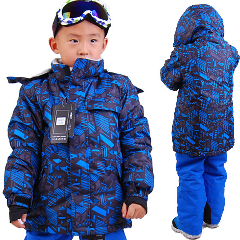 2014 child skiing jackets Kids Ski Suits Set Thermal Waterproof Windproof hiking kids clothing set 4 - 16 old wear(China (Mainland))