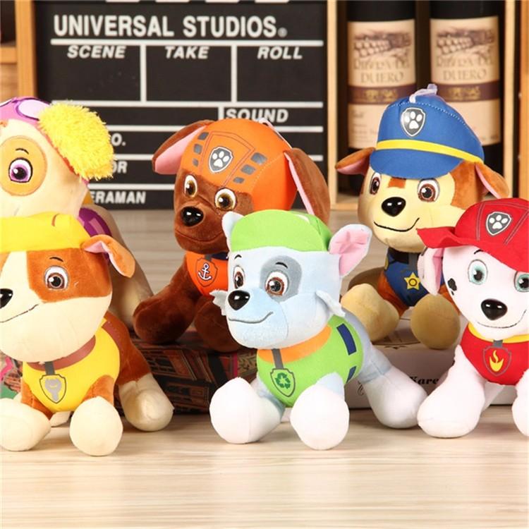 Anime Puppy Plush Doll Dog 12 & 20cm 6pcs/lotPatrulla Canina Pat Canine Patrol Toy Pow Pet Patrulha Pata Plush toys Ryder(China (Mainland))