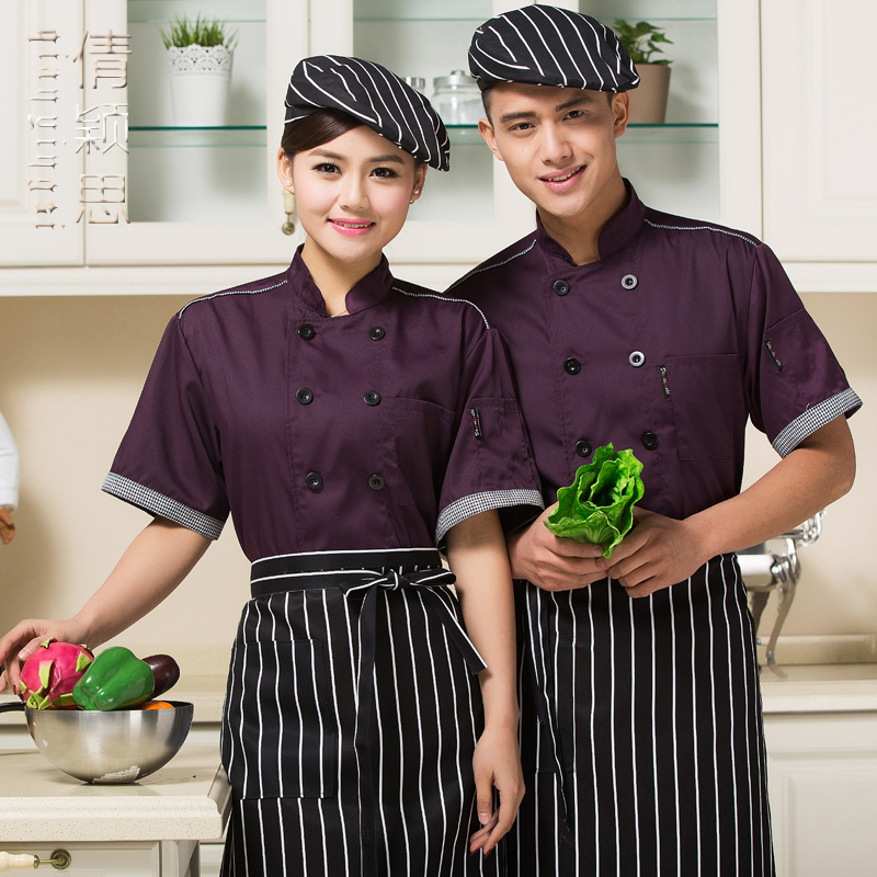 20pcs Summer short-sleeve cook suit breathable cook clothes tooling summer short-sleeve chef shirt chefs uniforms hotel stuff(China (Mainland))