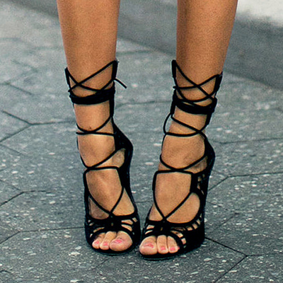 Women Pumps Brand Designer High Heels Cut Outs Lace Up Open Toe Party Shoes Woman Gladiator Sandals Women Ladies Zapatos Mujer(China (Mainland))