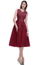 Cheap Dust Pink Beaded Lace Appliques Short Prom Dresses 2017 homecoming dresses vestido de festa Knee Length Party gala dress(China)