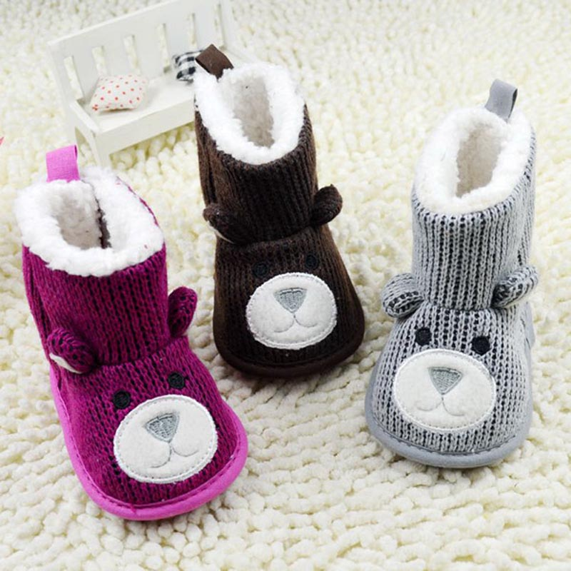 2014 Winter Toddler Infant Shoes Baby Boy Girls Shoes Newborn Snow Boots Cute Bear Pattern Fleece Crib Shoes 0-18M<br><br>Aliexpress