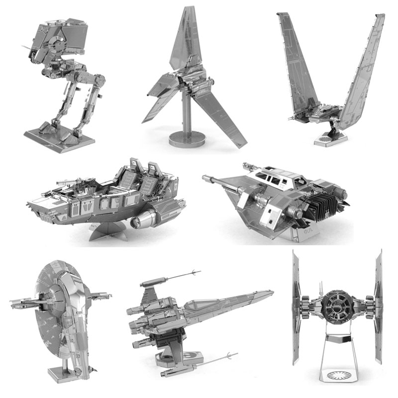 Star War Jigsaw Model ATAT Slave One Imperial Shuttle Special Forces Tie Fighter Kylo Ren's Command Shuttle 3D Metal Puzzle Toy(China (Mainland))