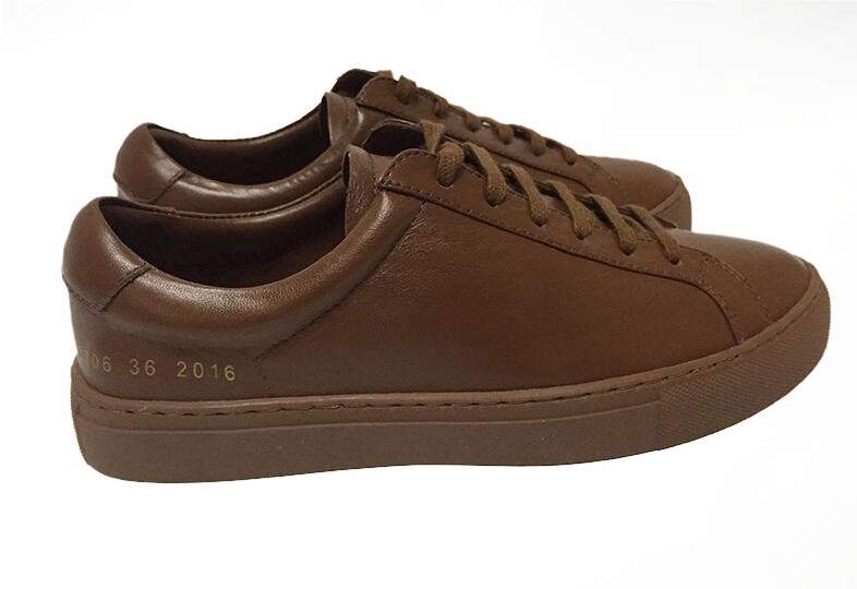 Фотография Shoes Brand Italy Common Projects Women Men Spring Autumn Stella Brown Genuine Leather Sheepskin Casual Shoes Scarpe Chaussures