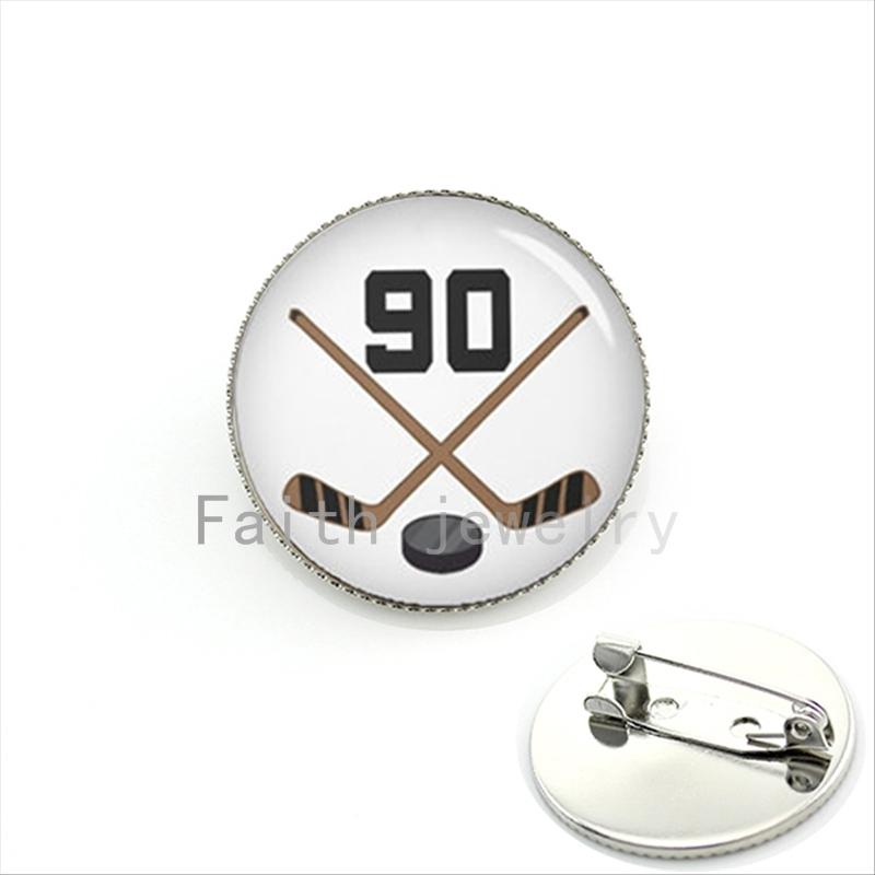 Cool ball fan jewelry bijoux brooch jewelry Ice Hockey Player Jersey Number 90 number silver plated jewelry men gift KC431(China (Mainland))
