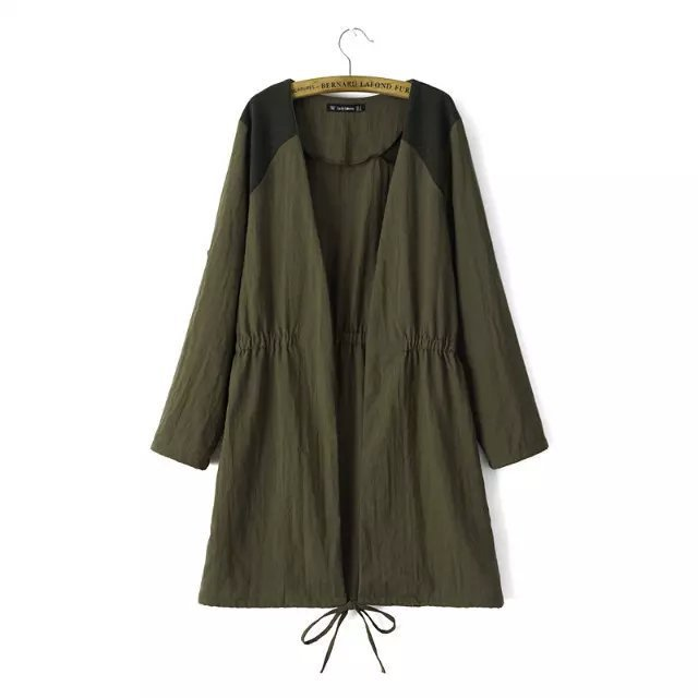 2015 Trench Spring Autumn New Elastic Waist Solid Color V-neck Long Cardigan Women Coat Za/8 - LITTLE DREAM SHOP store