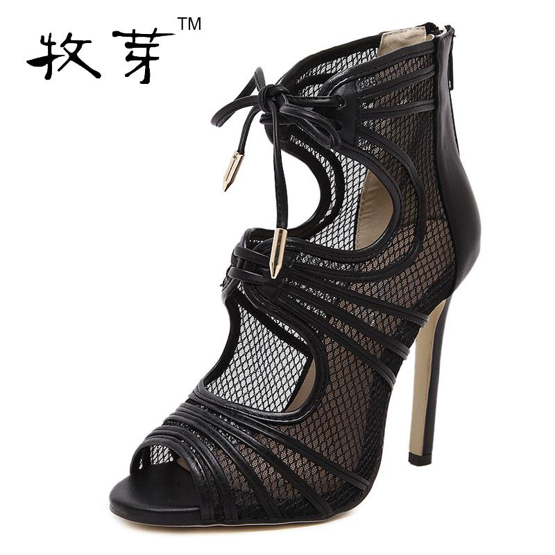 2016 fashion shoes woman pumps women high heels lace up pointed toe 10.5cm party shoes black<br><br>Aliexpress