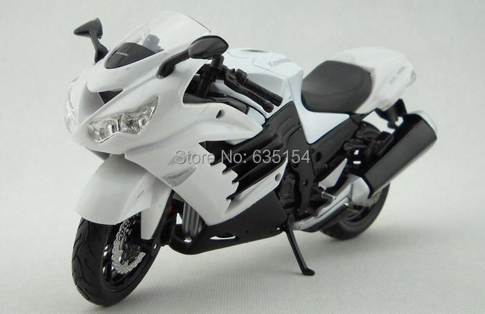 Wholesale 5pcs/pack Brand New 1/12 Scale Diecast Motorcycle Model Toys Kawasaki Ninja ZX-14R White Metal Motorbike Model Toy(China (Mainland))
