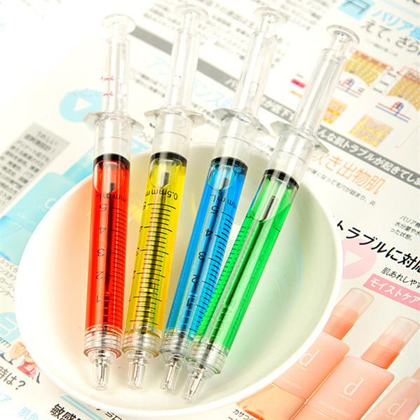 12pcs/lot Creative novelty syringe particular form syringe ballpoint pen cute 0.5mm ball ammunition reload automatically(China (Mainland))