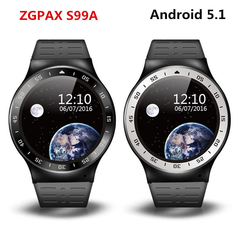 Stock S99A PK KW88 No.1 D5 X3 Plus 3G Smart Watch Android 5.1 2.0MP Cam 8GB +512 GPS WiFi Pedometer Heart Rate 3G Smartwatch