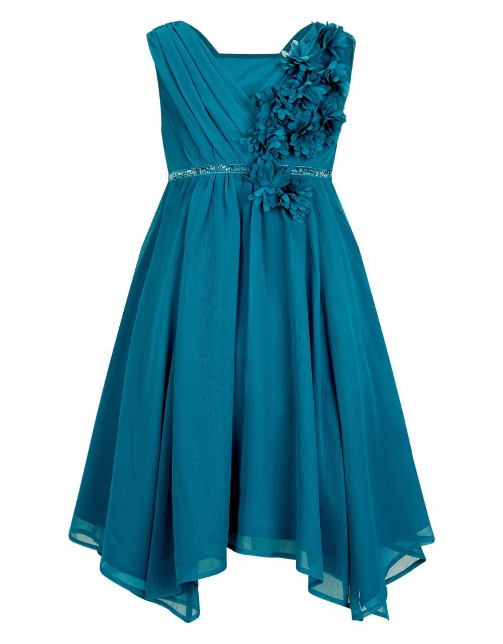 Здесь можно купить  Elegant Vestidos Pageant Royal Blue Draped Appliques Chiffon Communion Dress Baptism Gowns For Little Girls With Sequined Sash  Детские товары
