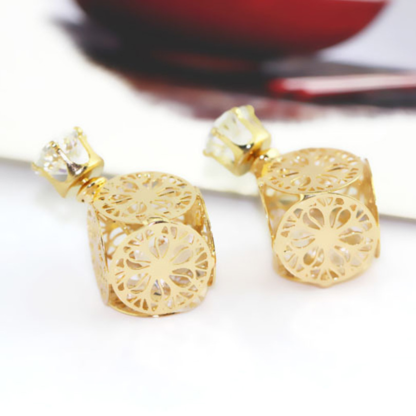 Double sided earring lot for ladies cubic zirconia diamond with golden square side fashion jewelry earrings pusety aretes(China (Mainland))