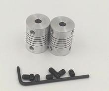 2Pcs/lot 3D printer Stepper Motor Flexible Coupling Coupler 5*5 mm Motor Jaw Shaft Coupler 5mm To 5mm with 8 Setscrews,Allen Key(China (Mainland))