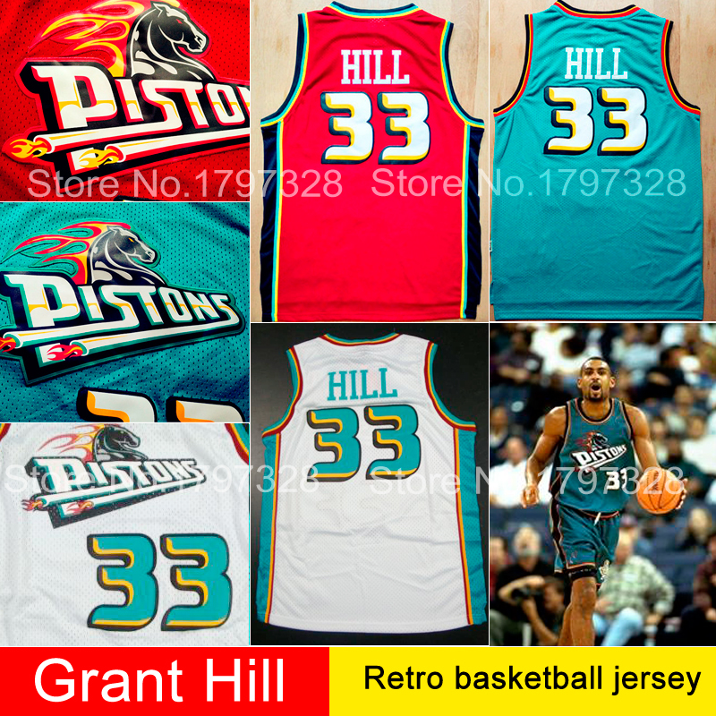 Free shipping 33 grant hill retro basketball jersey green red white embroidery logo throwback brand sport shirts mens size:s-xxl(China (Mainland))