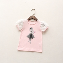 2016 summer new style baby girls short sleeve T-shirt fashion cute children child beautiful princess shirt tops tees()